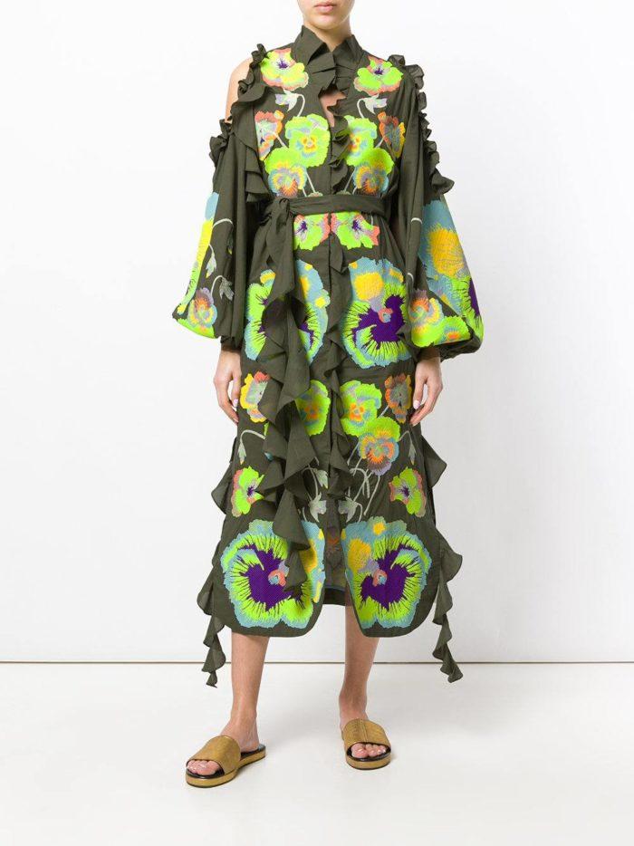 асимметричное платье-рубашка с принтом и декором