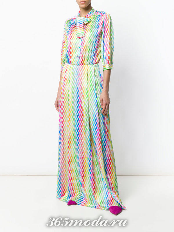 платье-рубашка макси с разноцветными полосками