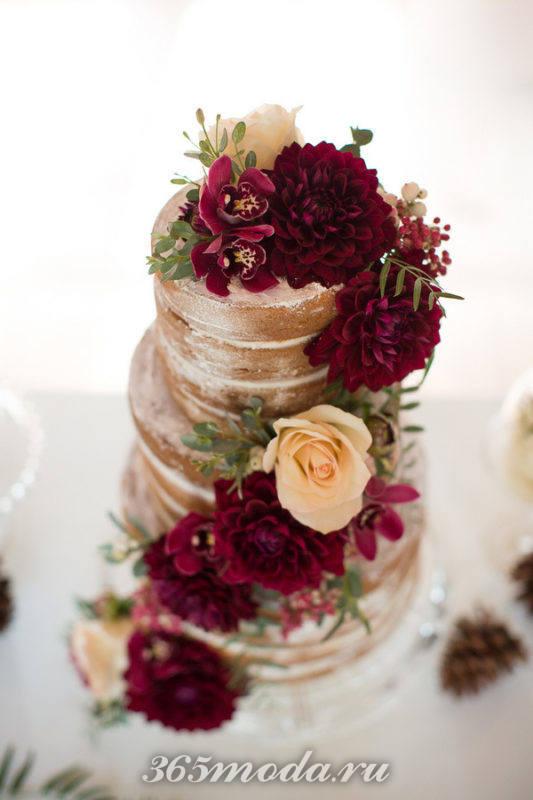 свадебный торт марсала с золотом