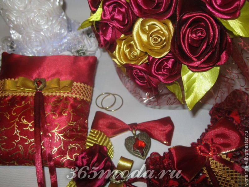 свадебный декор марсала и золото