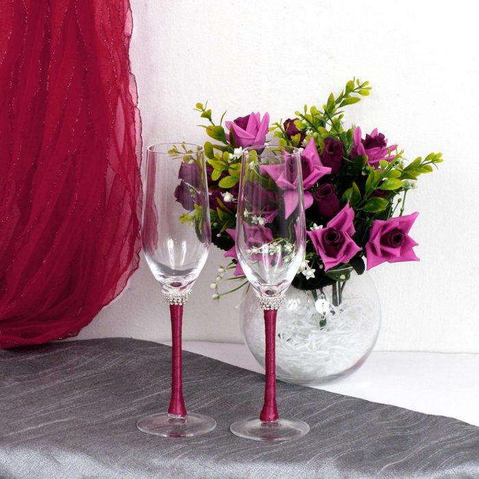 свадебные бокалы с цветом марсала