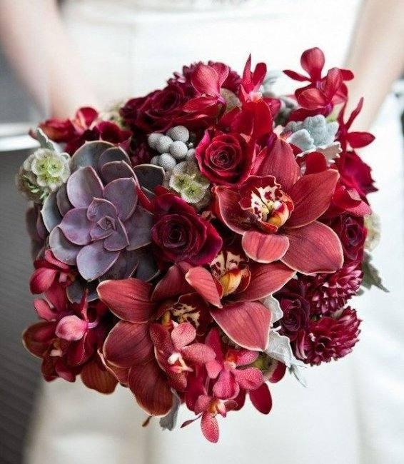 цветы для свадьбы марсала