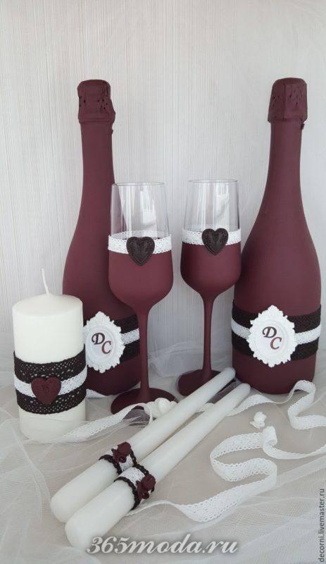 свадебные бокалы с декором марсала
