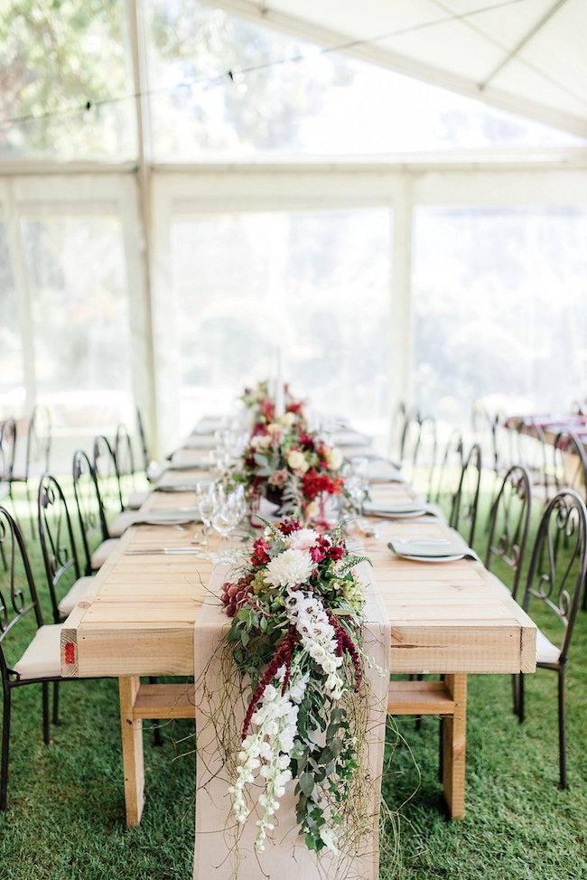 украшение стола свадьбы марсала