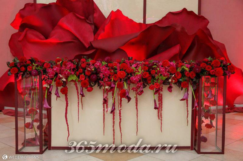свадьба марсала украшение мебели