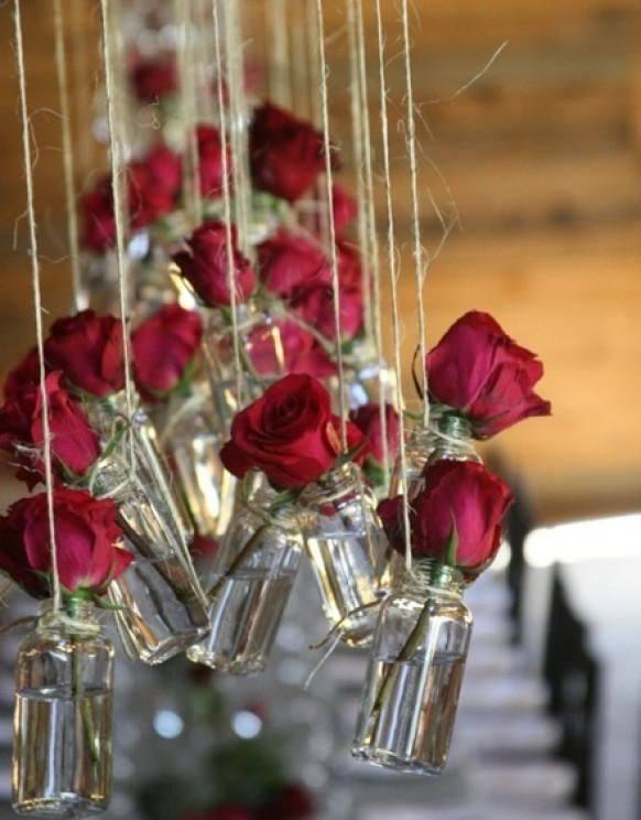 цветочный декор свадьбы марсала