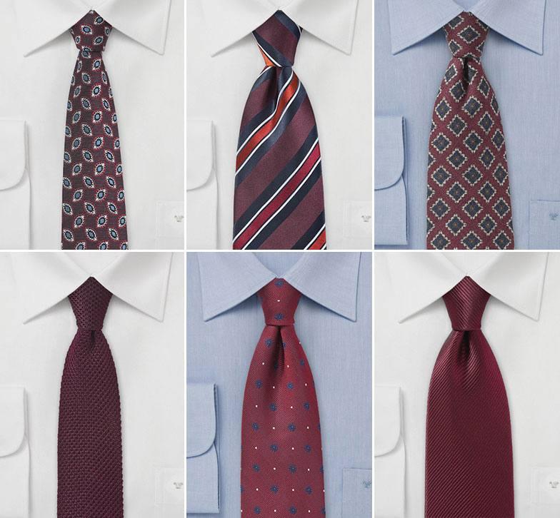 галстуки марсала для жениха