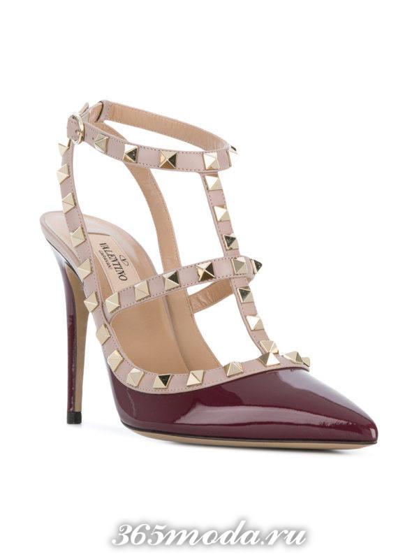 свадебные туфли марсала на шпильках