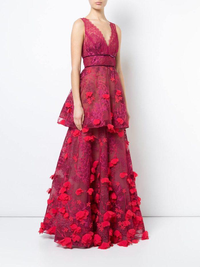 многослойное свадебное платье марсала