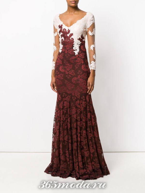 свадебное платье марсала с кружевом