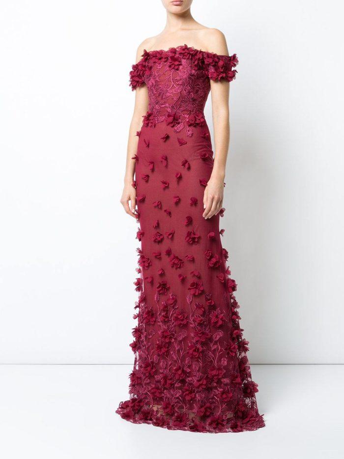 свадебное платье марсала с декором