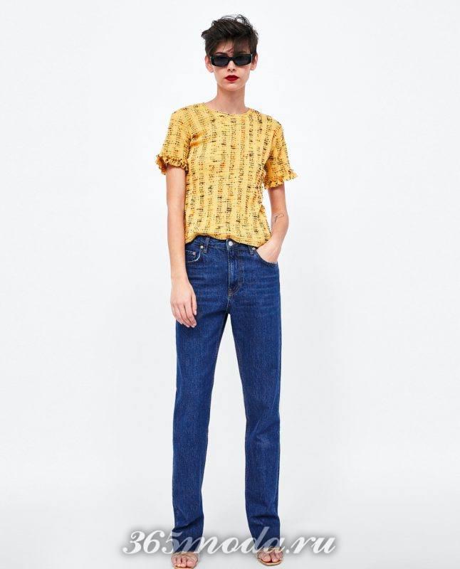 модная желтая женская футболка 2018
