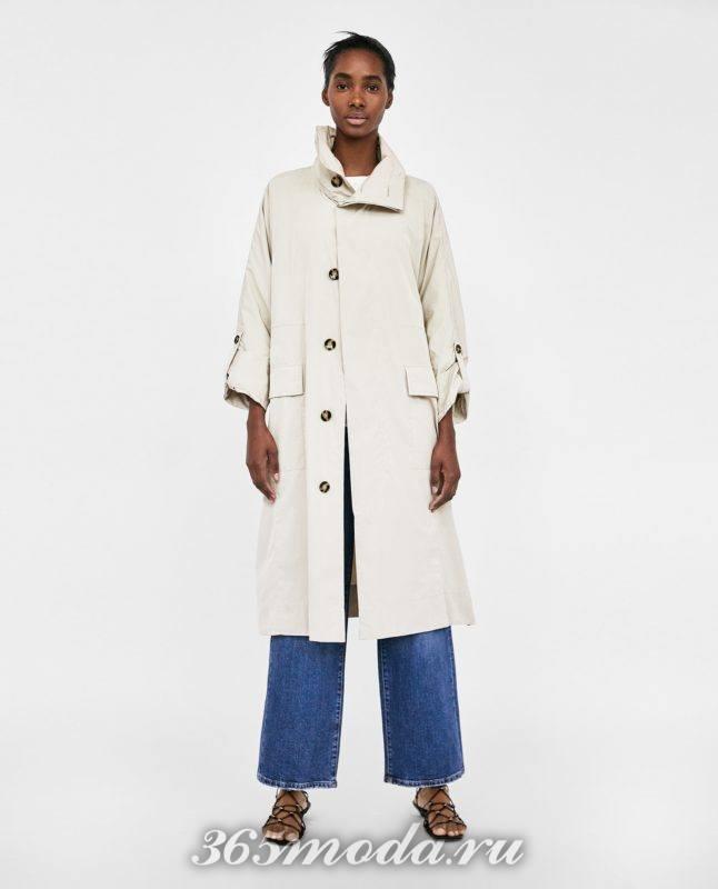бежевое женское пальто 2018