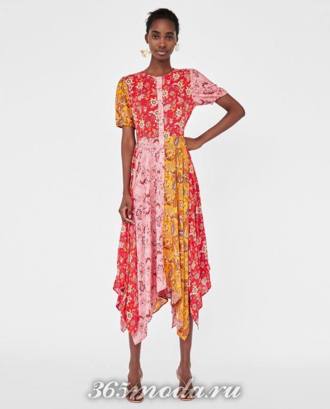модное цветастое женское платье 2018
