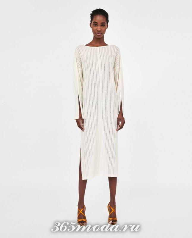 модное белое женское платье 2018