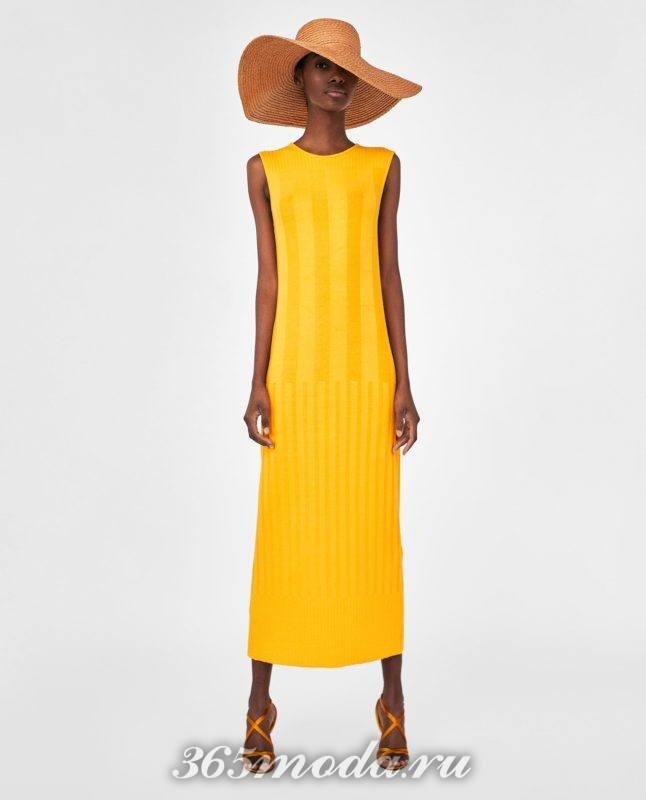 модное желтое женское платье 2018