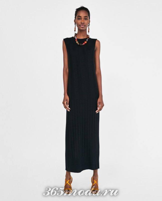 модное черное женское платье 2018