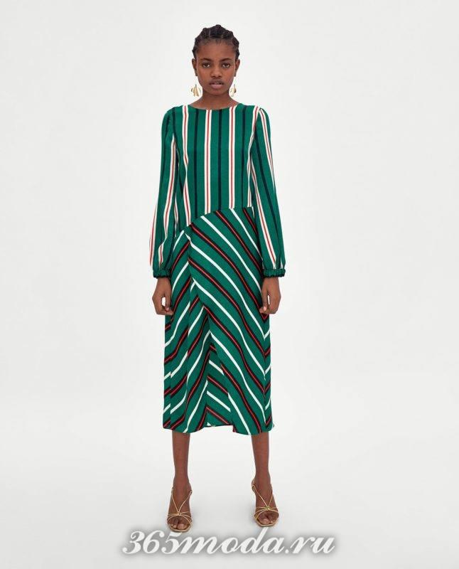модное зеленое женское платье 2018