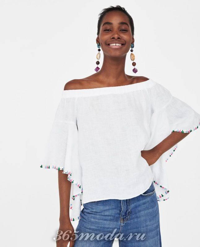 модная женская белая блузка 2018