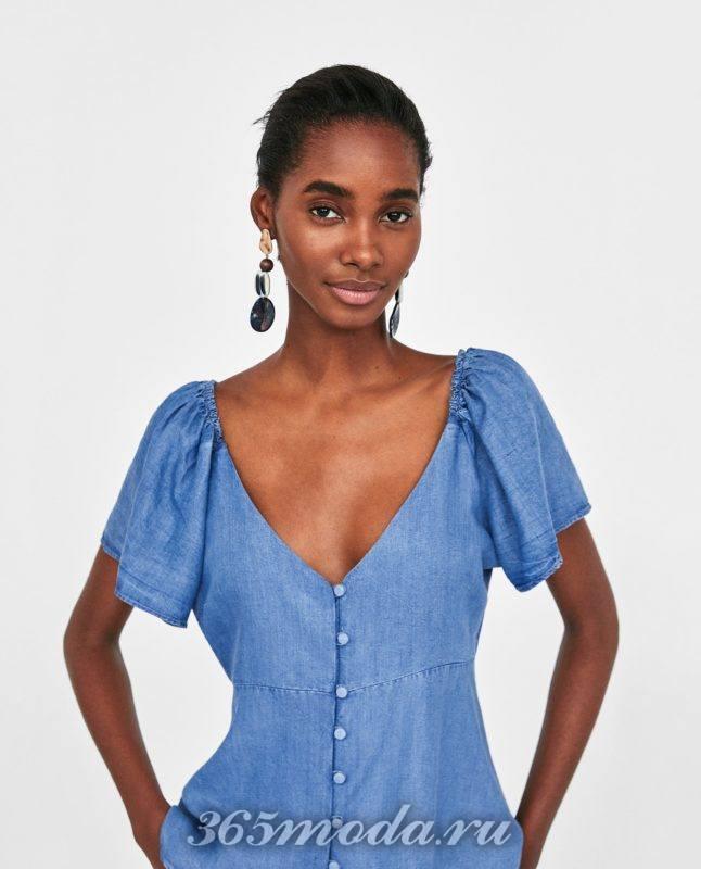 модная женская голубая блузка 2018