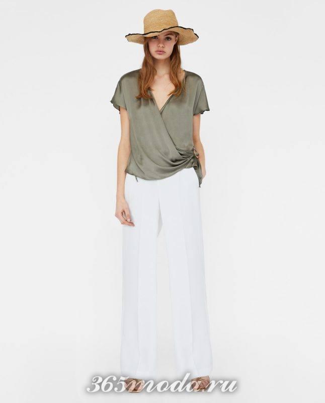модная женская оливковая блузка 2018