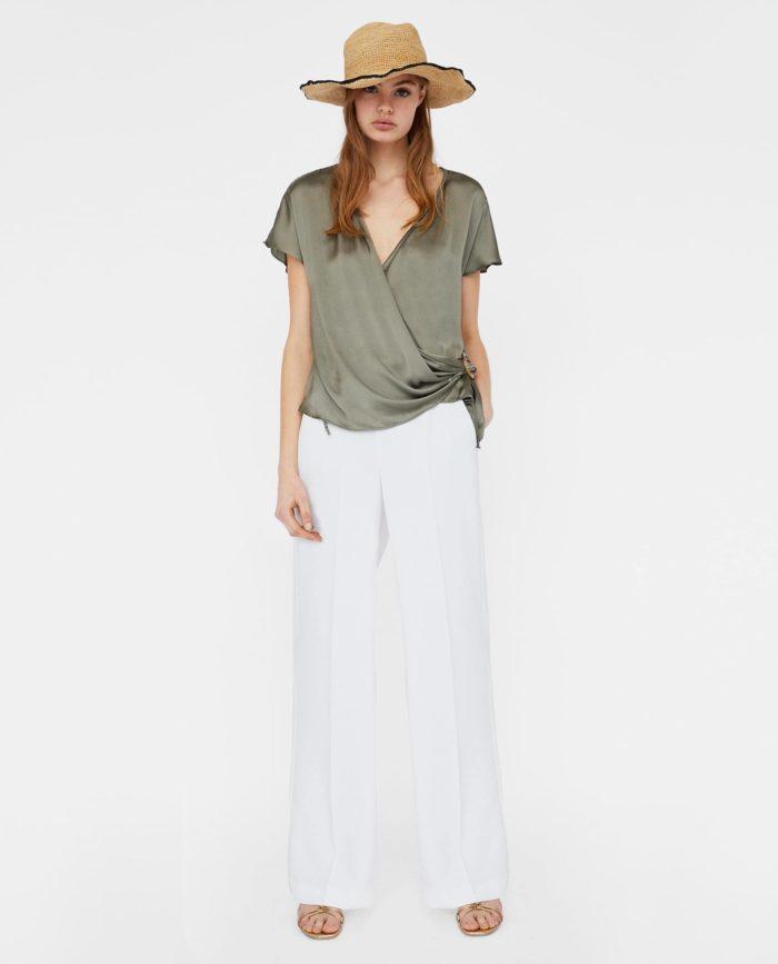 оливковая блузка