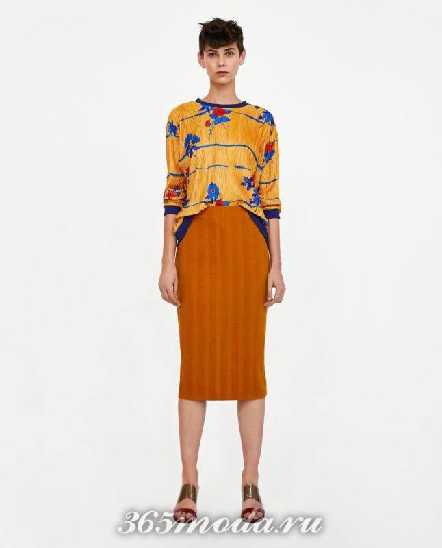 модная коричневая юбка 2018