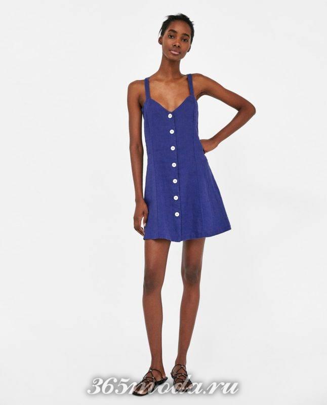 модное синее платье 2018