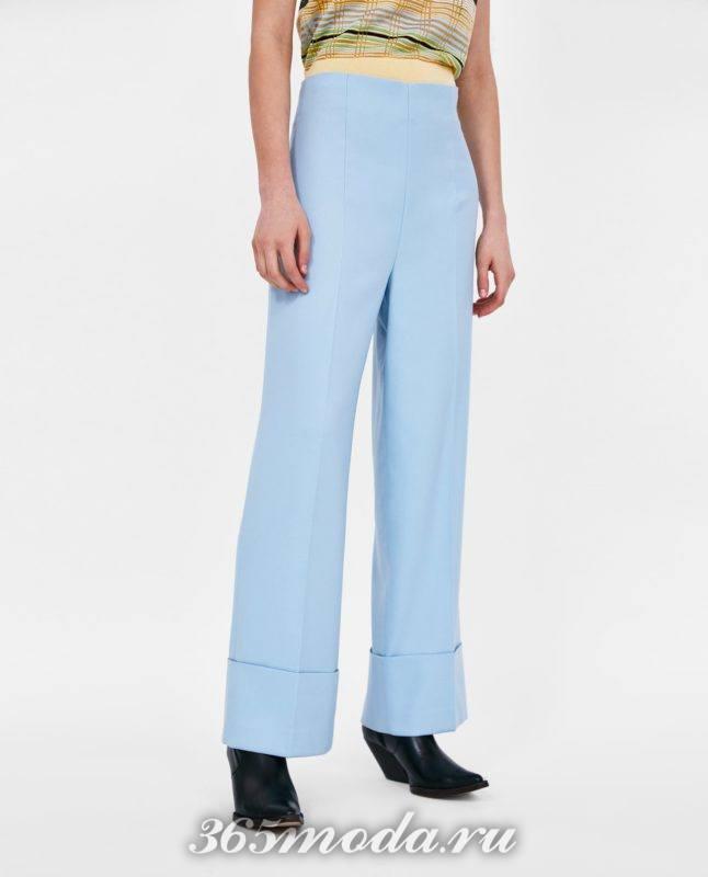 модные голубые женские брюки 2018