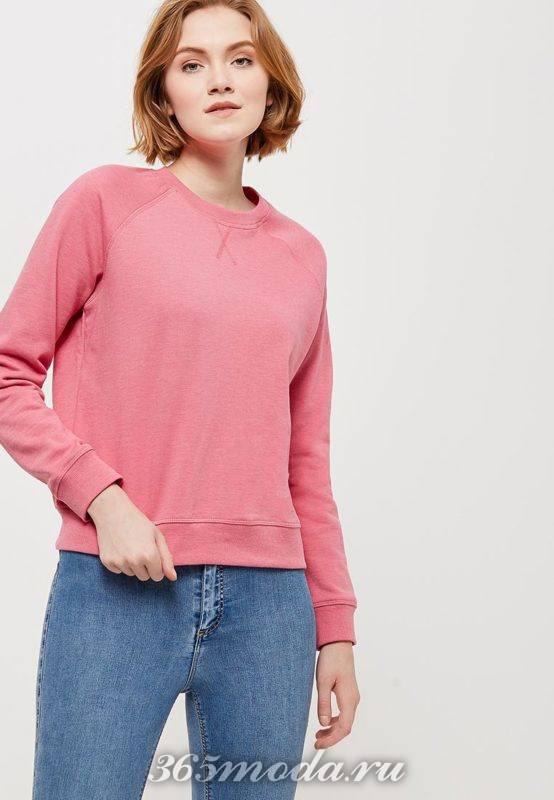 женский розовый свитшот 2018