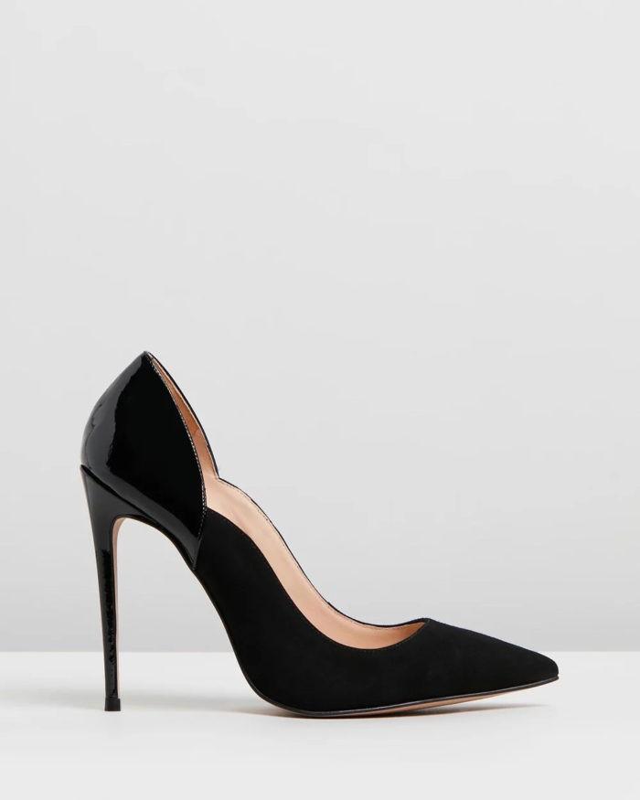черные туфли лодочки на шпильке вставка лак