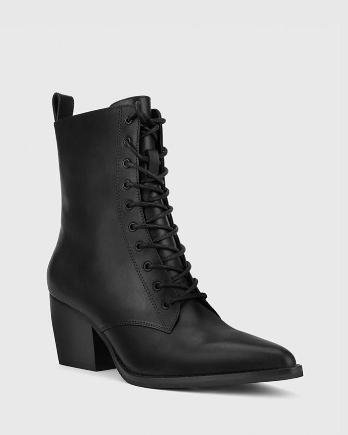 черные ботильоны на толстом каблуке со шнурками