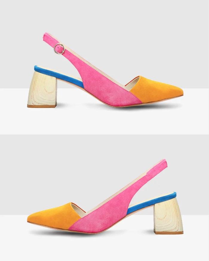 замшевые разноцветные туфли на толстом каблуке